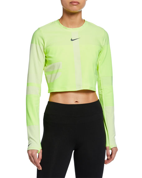 24c4574a59a21c Nike Tech Pack 2.0 Run Cropped Neon Stretch Top In Green | ModeSens