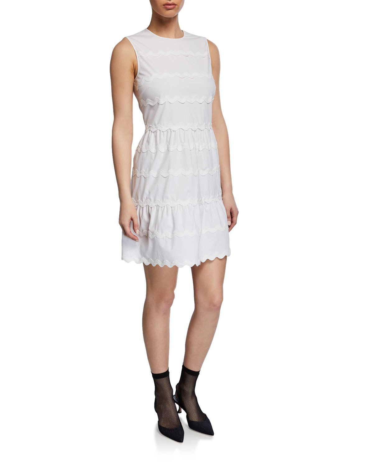 Red Valentino Sleeveless Scallop Cotton Dress In White