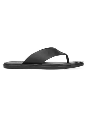 Vince Dean Leather Flat Thong Sandals In Black
