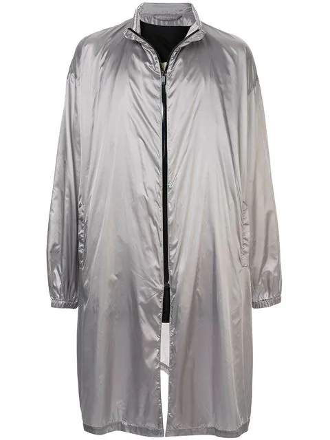 Raf Simons Silver Reversible Hooded Shell Coat In 00080 Grey