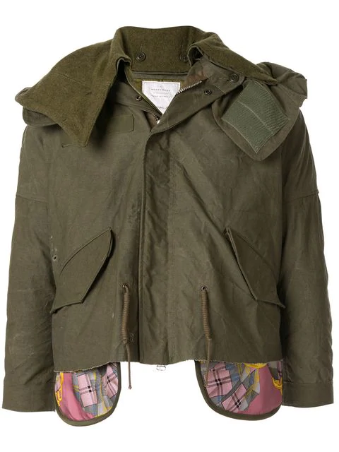 Readymade Layered Style Jacket In Green