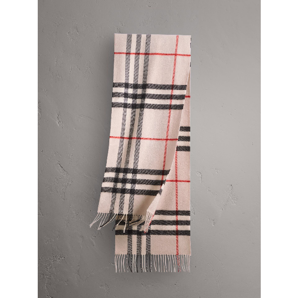 Burberry Men's Cashmere Giant Icon Scarf, Camel In Stone Check