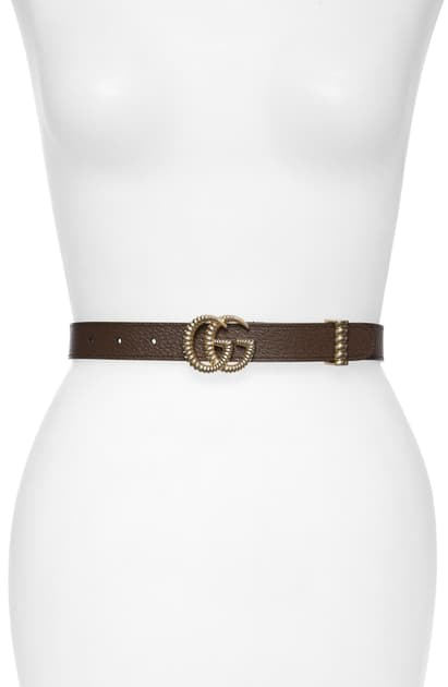 Gucci Gg Marmont Leather Belt W/ Textured Gg Buckle In New Acero