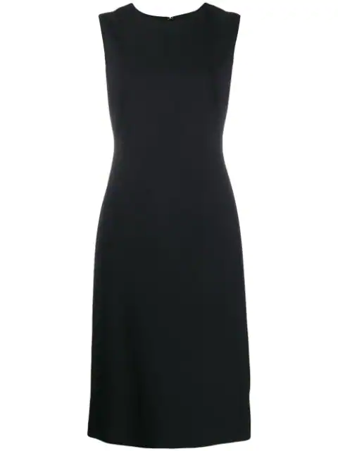 Theory Eano Sleeveless Good Wool Suiting Dress In Black