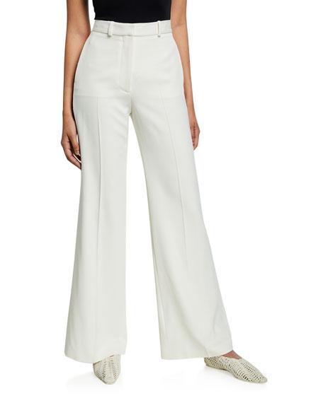Stella Mccartney Wide-Leg Wool Crepe Trousers In Ivory