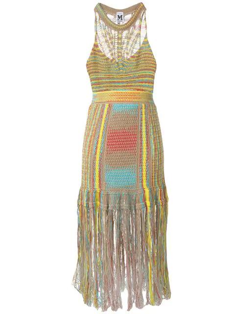 8b9bd0c9ece13 M Missoni Sleeveless Crochet Midi Dress With Fringe Hem In Neutrals.  Farfetch