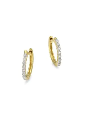 Provence Diamond 18k Yellow Gold Champagne Hoop Earrings