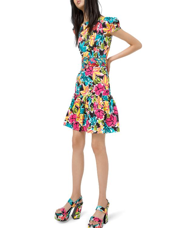 Michael Kors Ruffled Modern Floral Sateen Dress In Multi Pattern