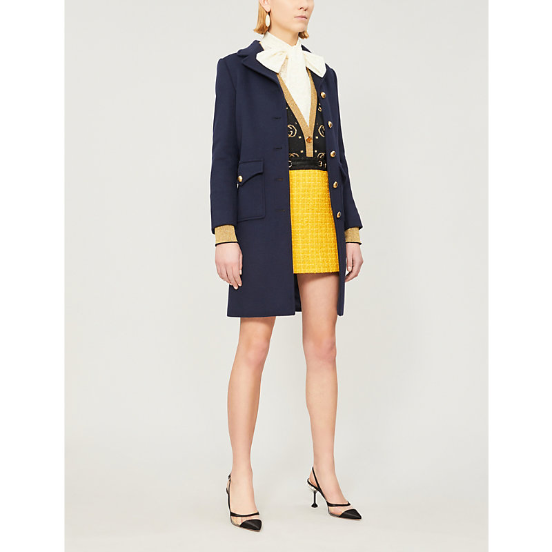 b4ae10084 Gucci Gg Belt-Back Single-Breasted Wool Coat In Admiral Dark Blue ...