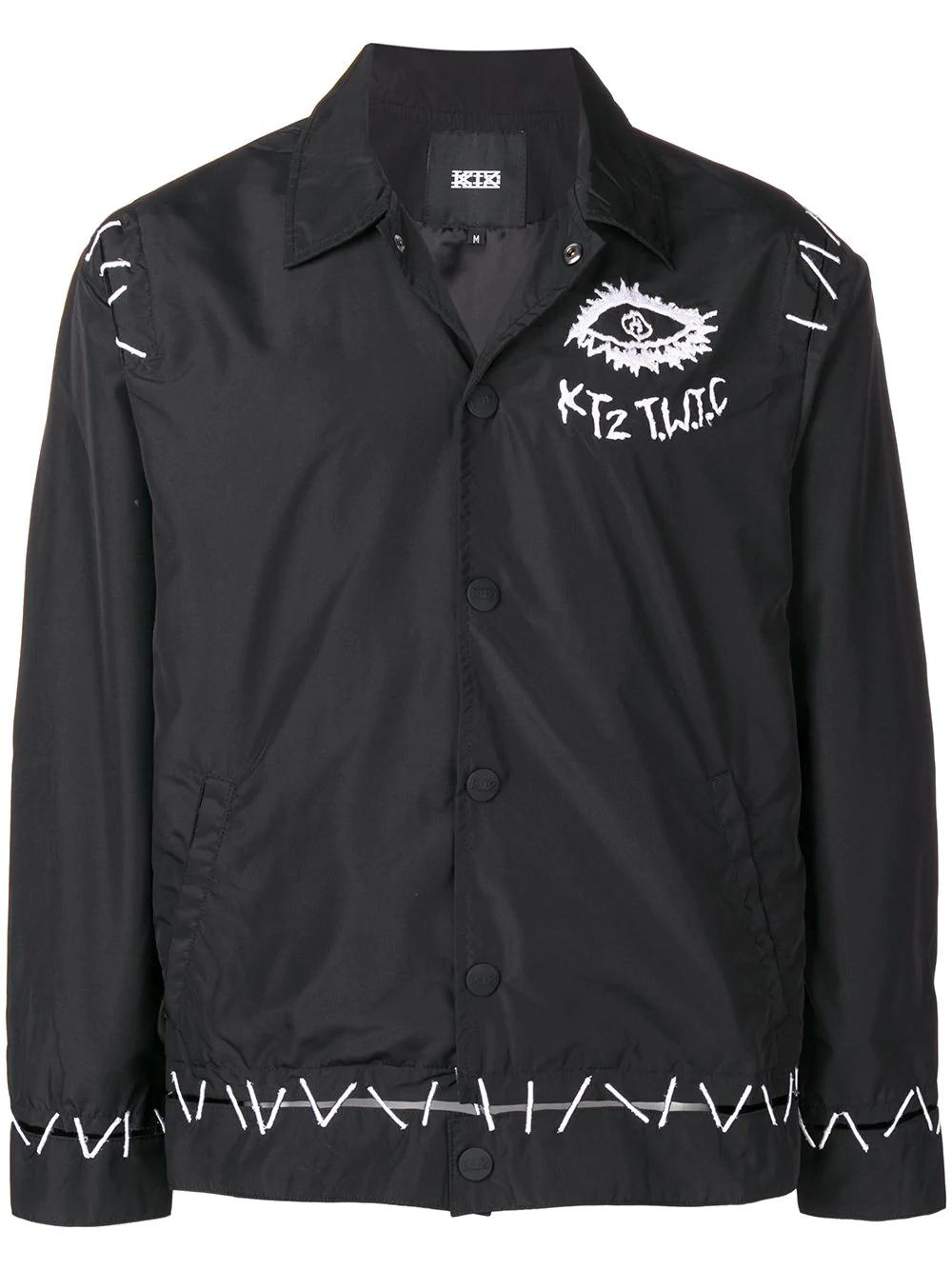 Ktz Pin Embroidered Coach Jacket - Black