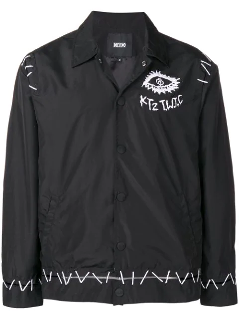 Ktz Pin Embroidered Coach Jacket - Black