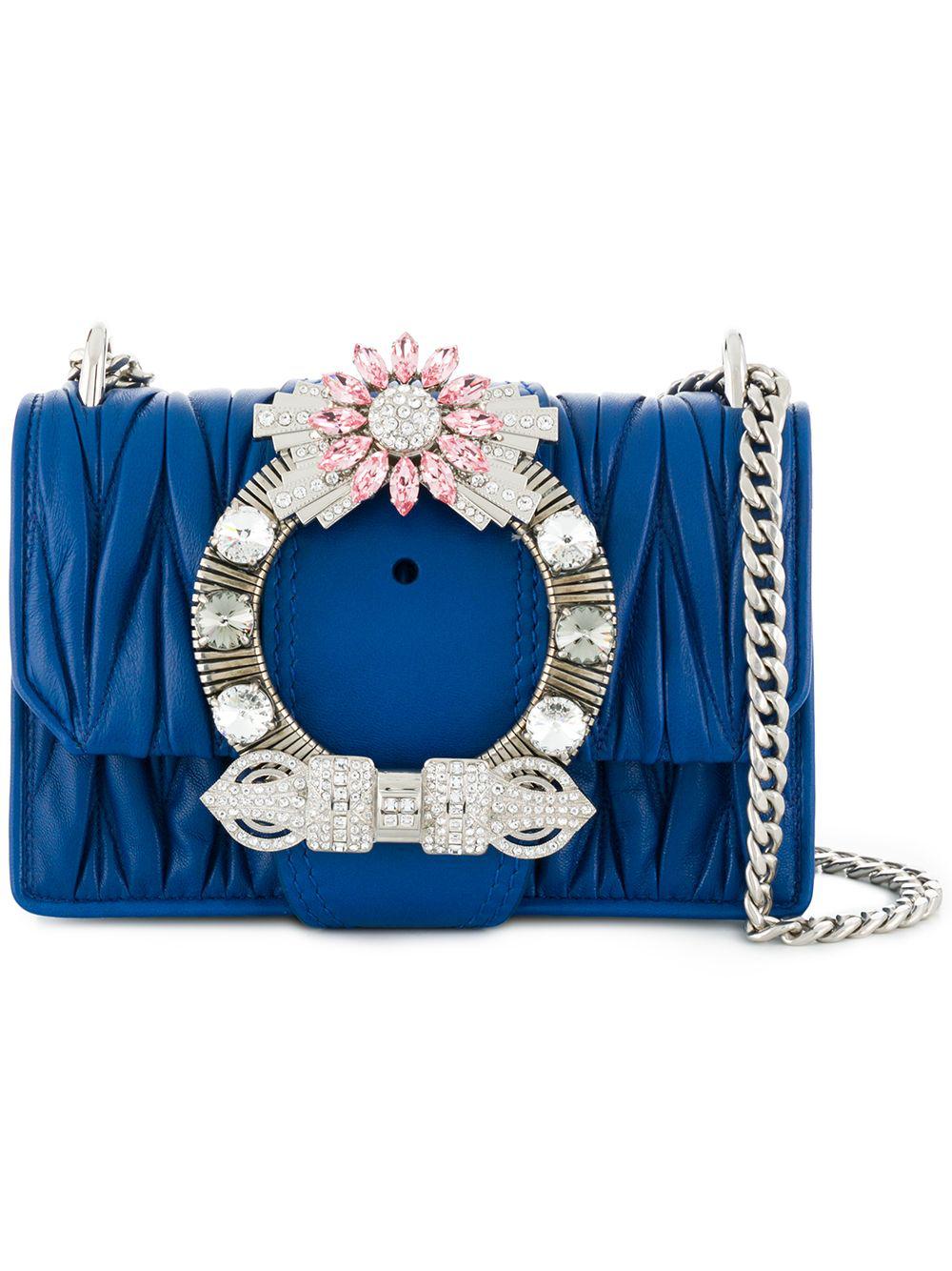 84429a64d090 Miu Miu Miu Lady Crossbody Bag - Blue. Farfetch