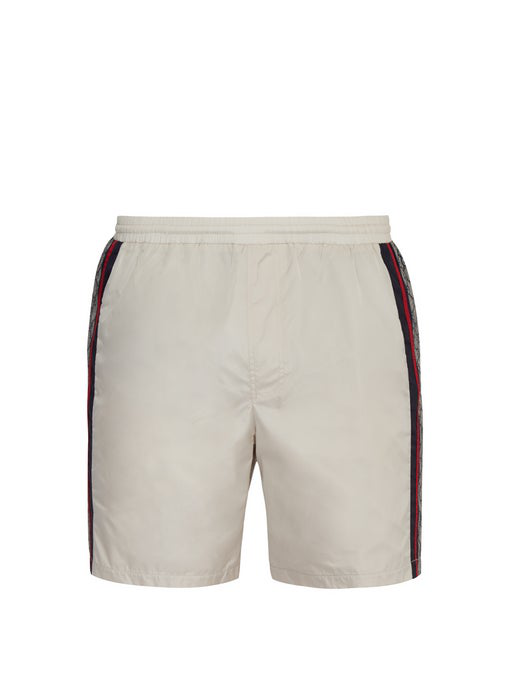 6079231ef2 Gucci Logo-Tape Relaxed-Fit Swim Shorts In 9182 White | ModeSens