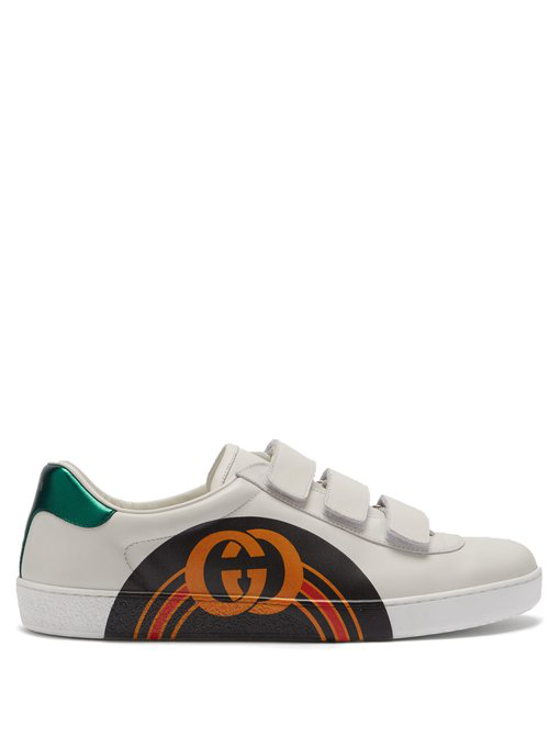 Gucci New Ace Gg Print Leather Trainers In White Multi