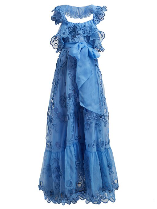 Valentino Ruffled Silk-Organza Gown In Light Blue