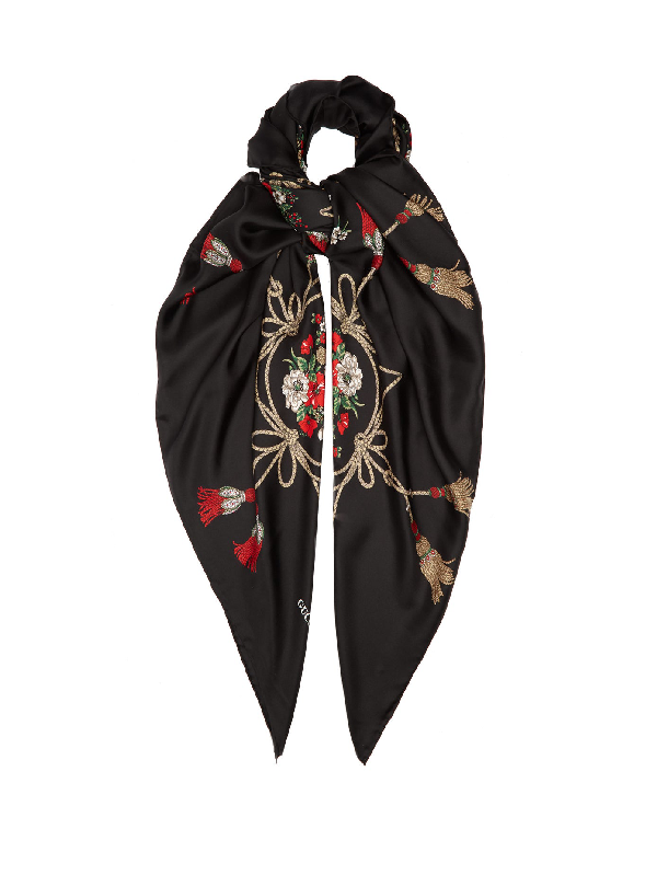 Gucci Floral And Tassel-print Silk-faille Shawl In Black