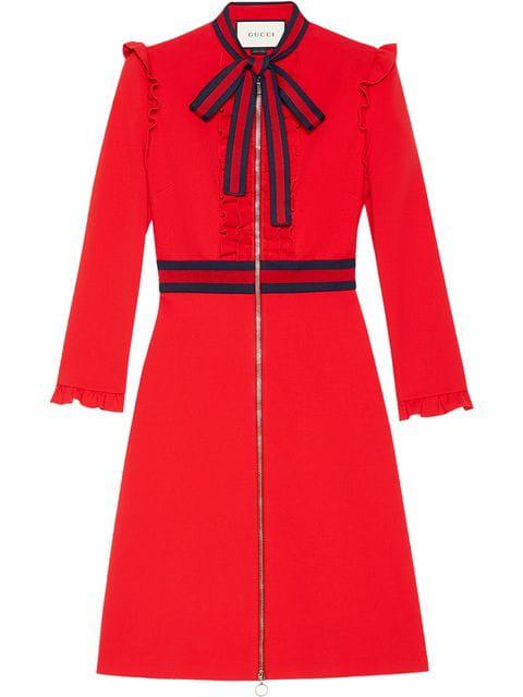 b1f97e8c43 Gucci Long-Sleeve Jersey Dress W/Web Trim, Red | ModeSens