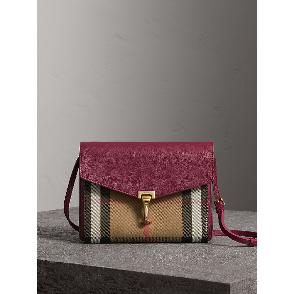 Burberry Small Leather And House Check Crossbody Bag In Berry Pink