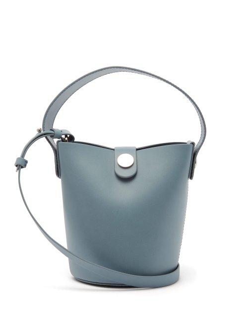 Sophie Hulme - Nano Swing Leather Bucket Bag - Womens - Blue In Slate Blue