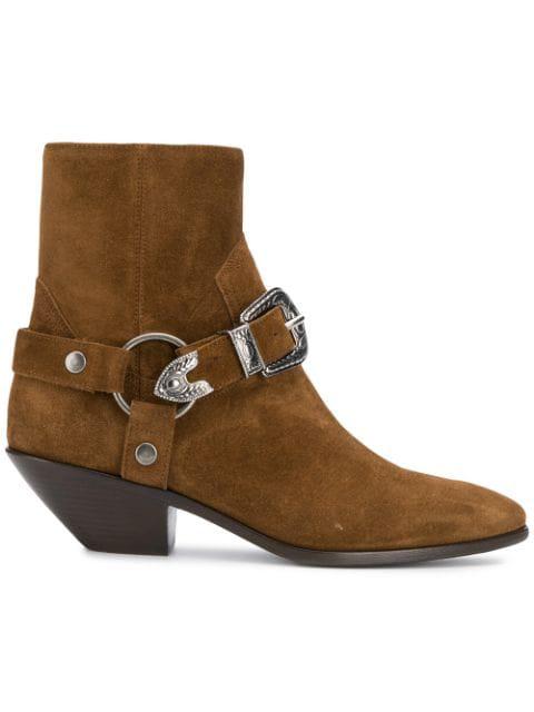 372a5dea283 Saint Laurent West Ankle Boots In Brown Suede | ModeSens