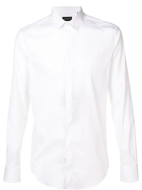 Emporio Armani Long-sleeve Fitted Shirt In White
