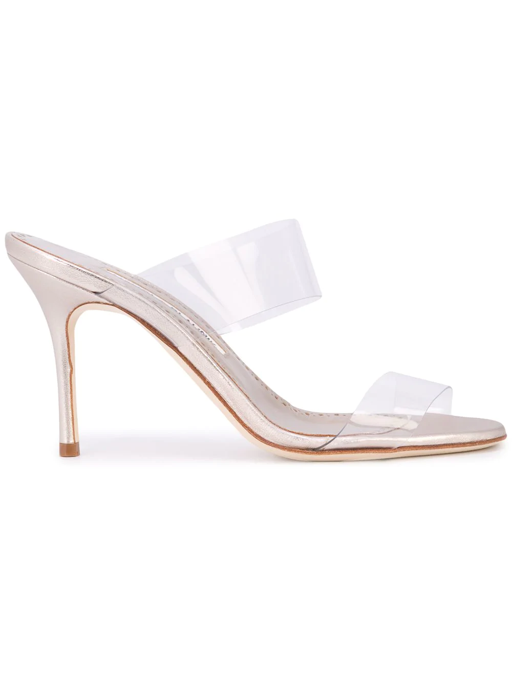 26a00d06d40aa Manolo Blahnik Scolto Leather And Pvc Slide Sandals In Neutrals ...
