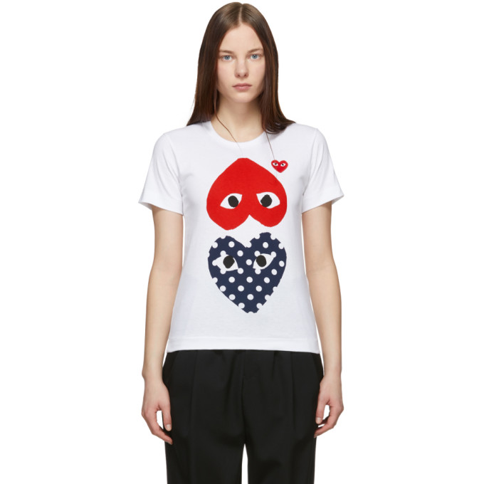 985d30741f29 Comme Des GarÇOns Play Comme Des Garcons Play White And Red Polka Dot Upside  Down Heart
