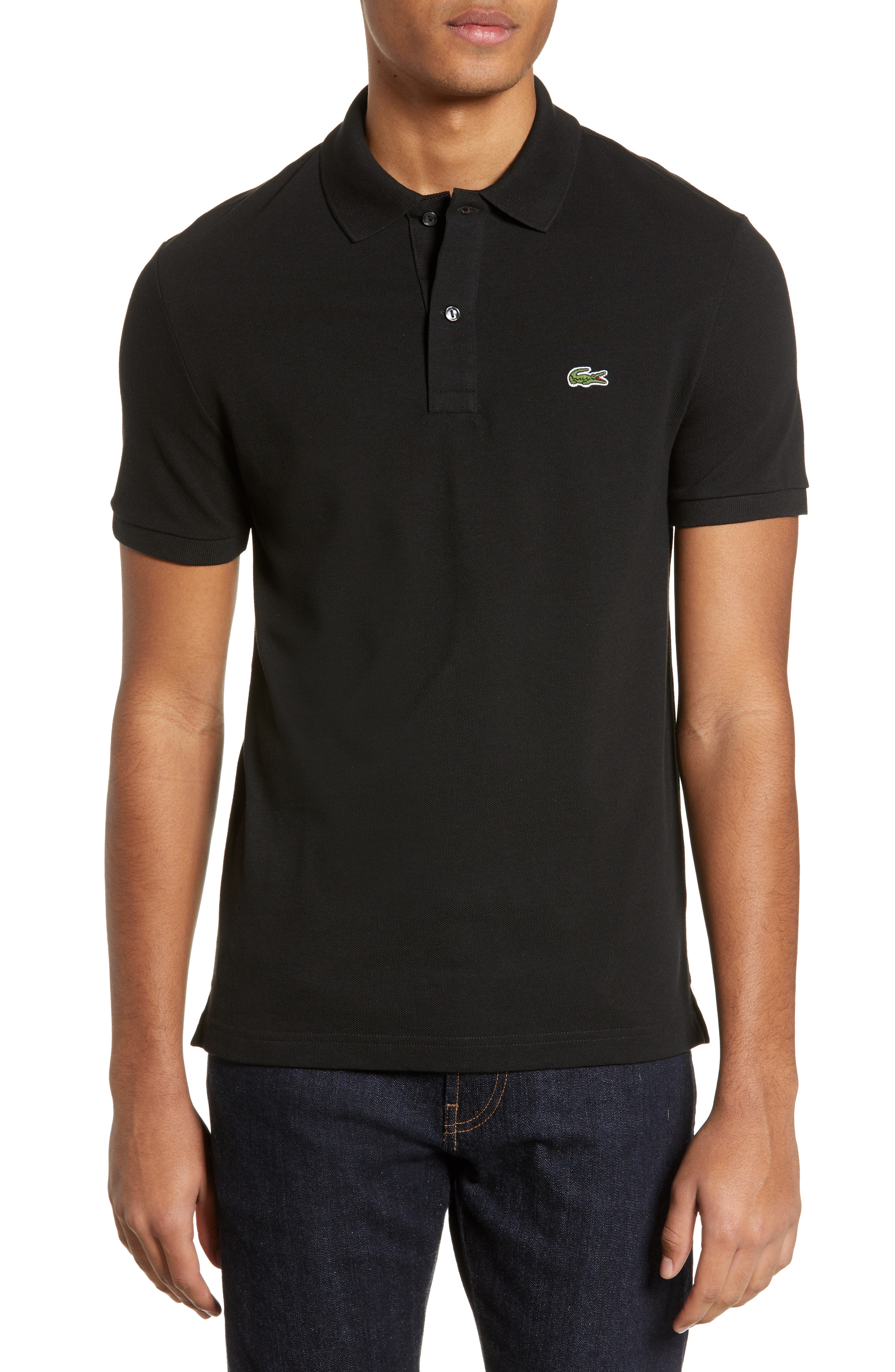 4ca9b78f6f9 Lacoste Pique Slim Fit Polo Shirt In Black