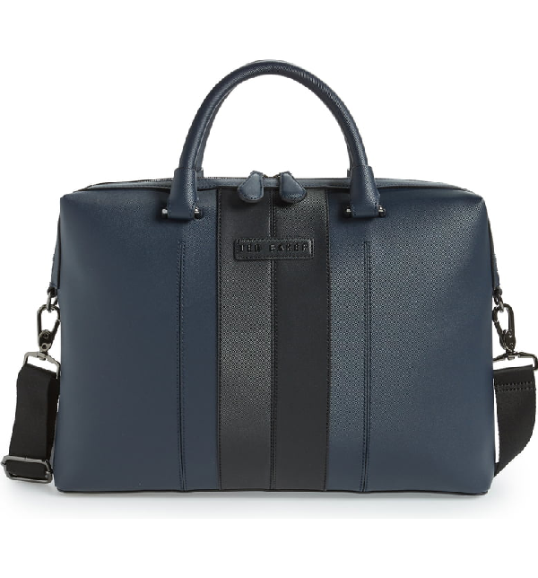 Ted Baker Faux Leather Document Bag - Blue In Navy