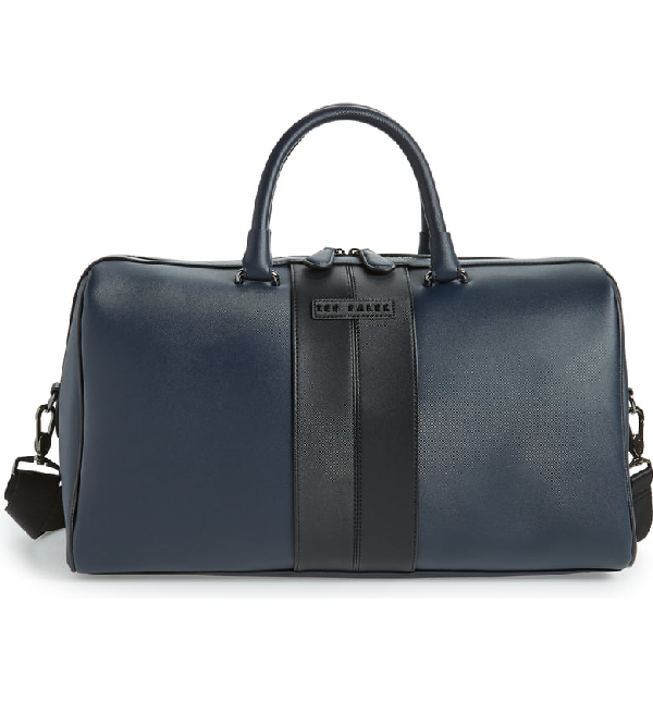 Ted Baker Faux Leather Duffel Bag - Blue In Navy