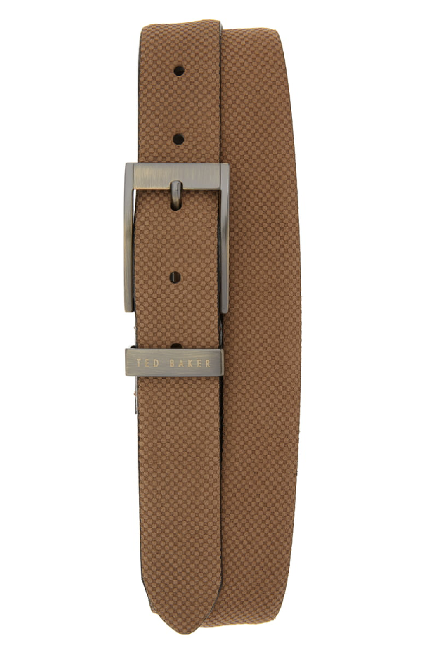 Ted Baker Consway Carbon Fiber-Effect Suede Belt In Taupe