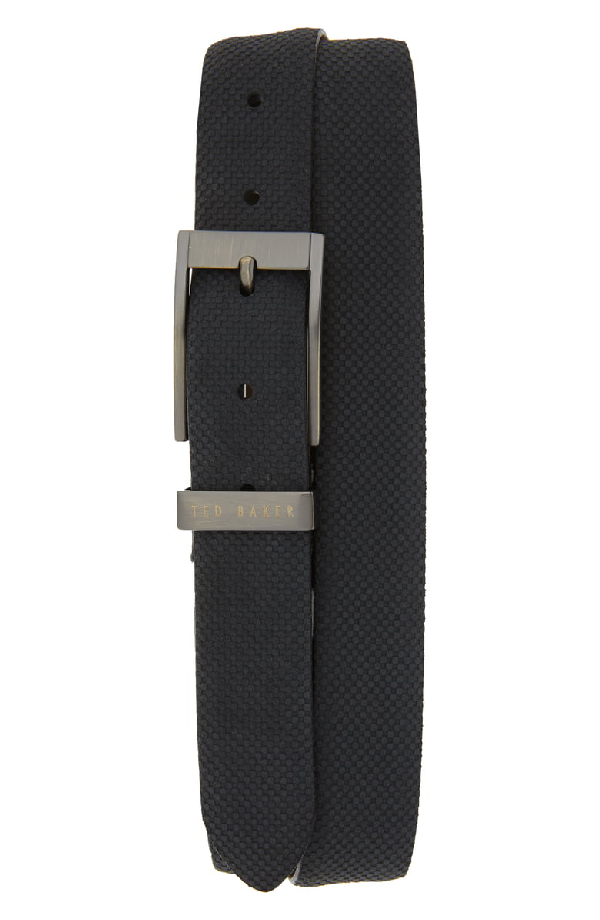 Ted Baker Consway Carbon Fiber-Effect Suede Belt In Navy