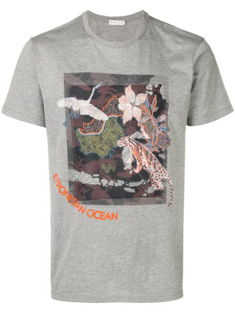 Etro Graphic Print T-shirt In Grey