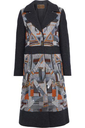 Etro Woman Paneled Embellished Felt Coat Dark Gray