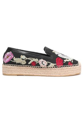 Alexander Mcqueen Woman Leather-Trimmed Embroidered Canvas Espadrilles Black