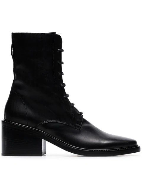 Ann Demeulemeester Black Lace-Up Leather Ankle Boots In 099 Black