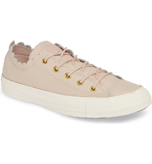 Converse Chuck Taylor All Star Scallop Low Top Leather Sneaker In Particle Beige/ Gold/ Egret