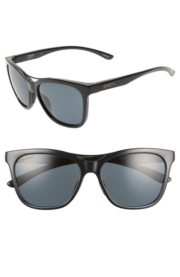 Smith Cavalier 55mm Chromapop(tm) Polarized Cat Eye Sunglasses In Black/ Black