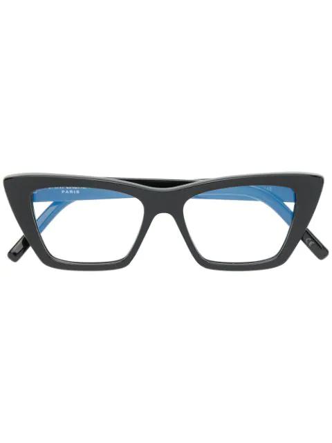 Saint Laurent Cat-eye Shaped Glasses In Black