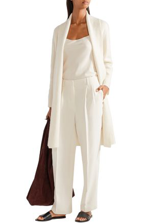 The Row Firth Silk-Crepe Wide-Leg Pants In Ivory