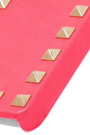 Valentino Garavani Woman Studded Textured-Leather Phone Case Bubblegum