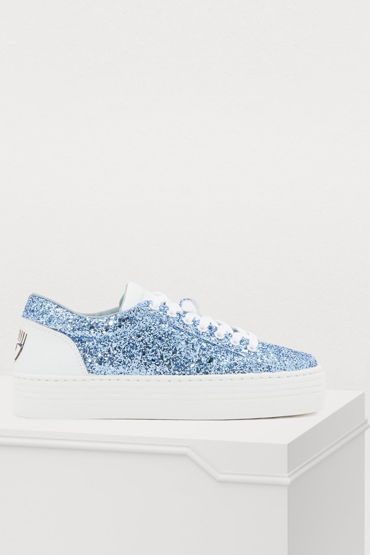 Chiara Ferragni Eye Glitter Sneakers In Glitter Blue