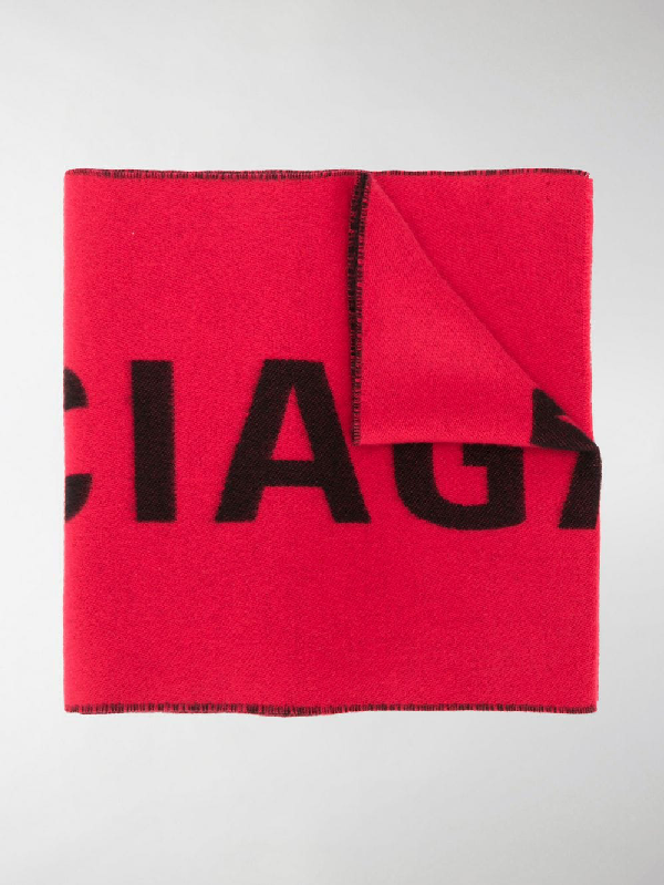 Balenciaga Logo Jacquard Wool Knit Scarf In Red