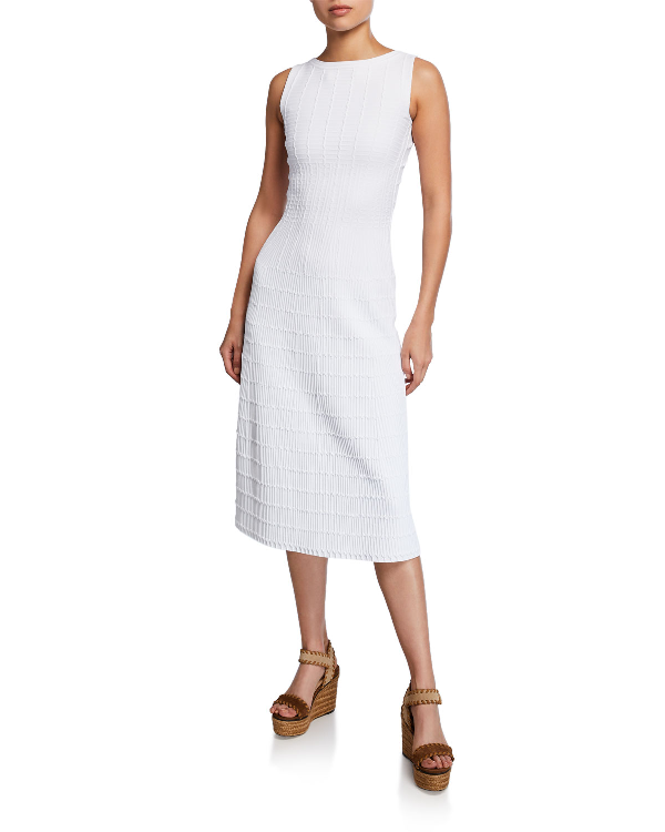 b42092caa31 AlaÏA Sleeveless Round-Neck Keyhole Back Cocktail Dress In White
