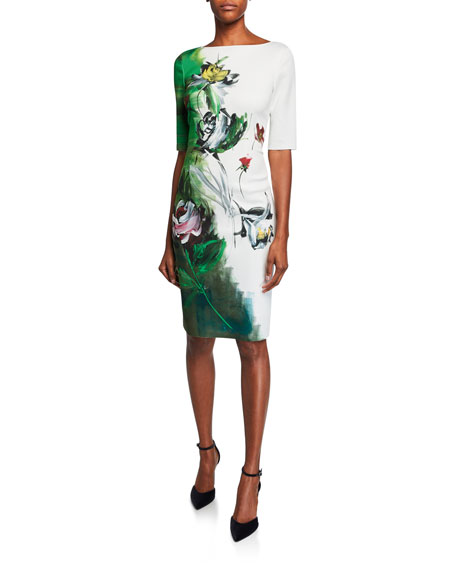 17ed3f7a2a4 Border-Print Bateau-Neck Elbow-Sleeve Scuba Dress in Green