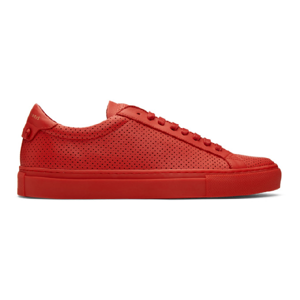 Givenchy Men's Urban Street Perforated Leather Low-Top Sneakers In Red