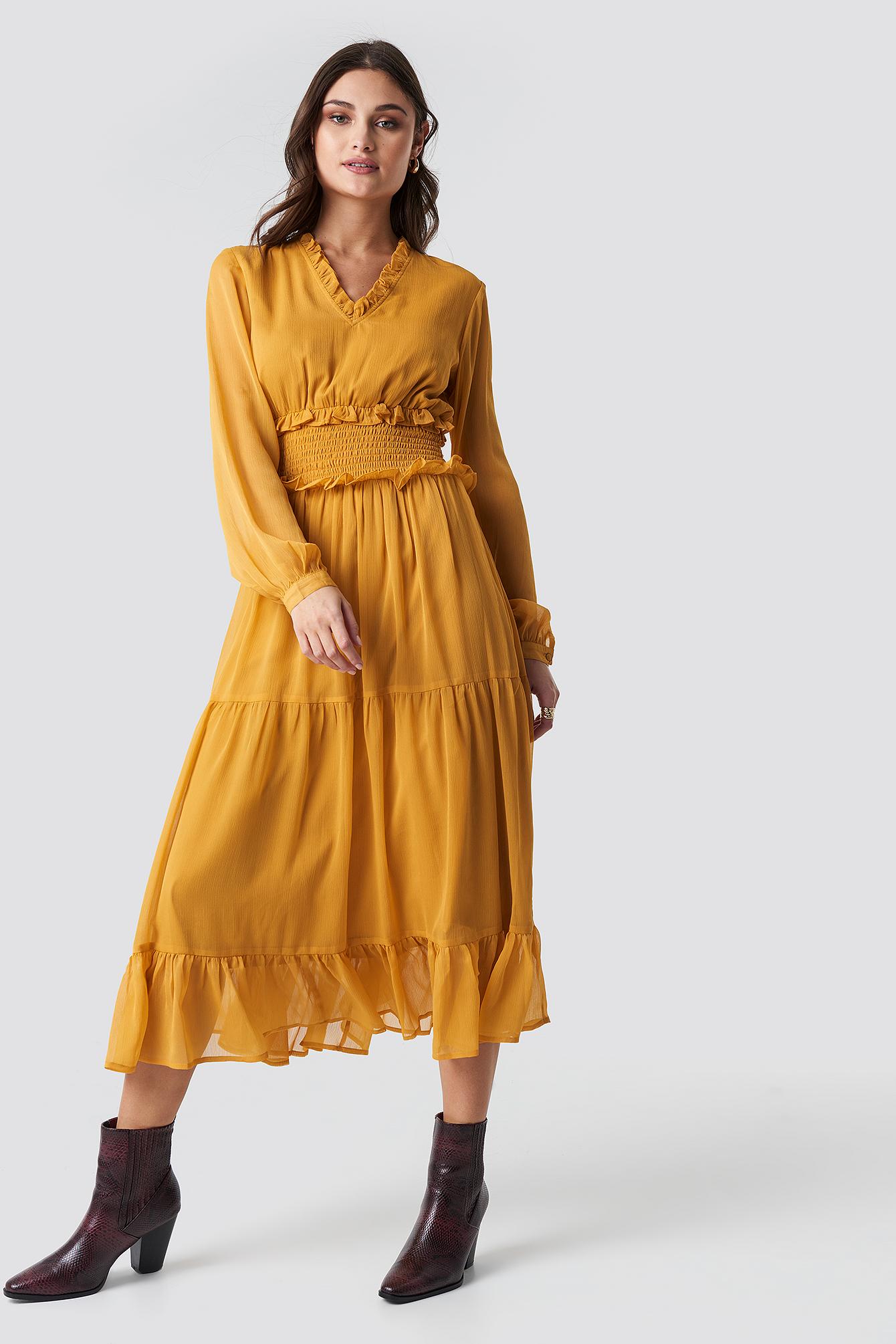 12dc0c1e68ef Na-Kd Ruffle Details Flowy Midi Dress - Yellow | ModeSens