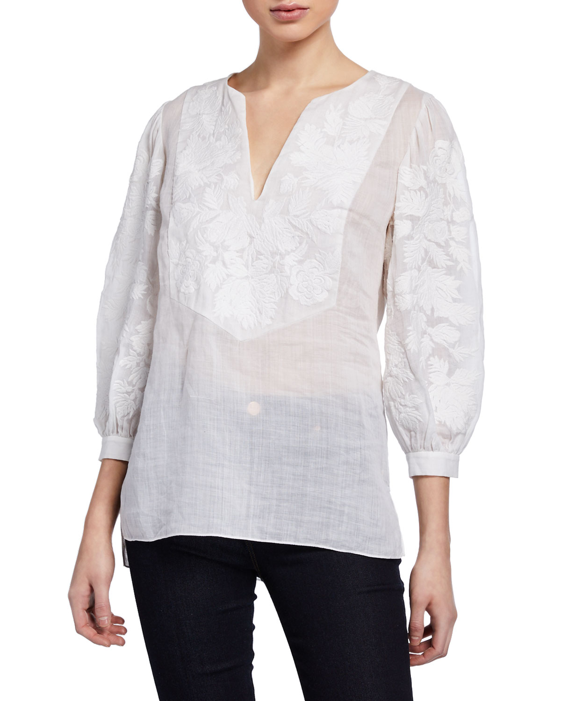 3ad40473fe44 Elie Tahari Serilda Embroidered 3/4-Sleeve Linen Blouse In White ...