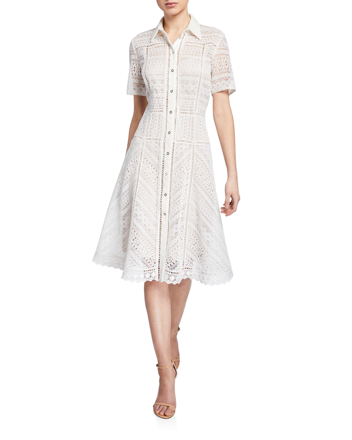5a3dc86ee24c Elie Tahari Annemarie Snap-Front Lace Shirtdress In White | ModeSens