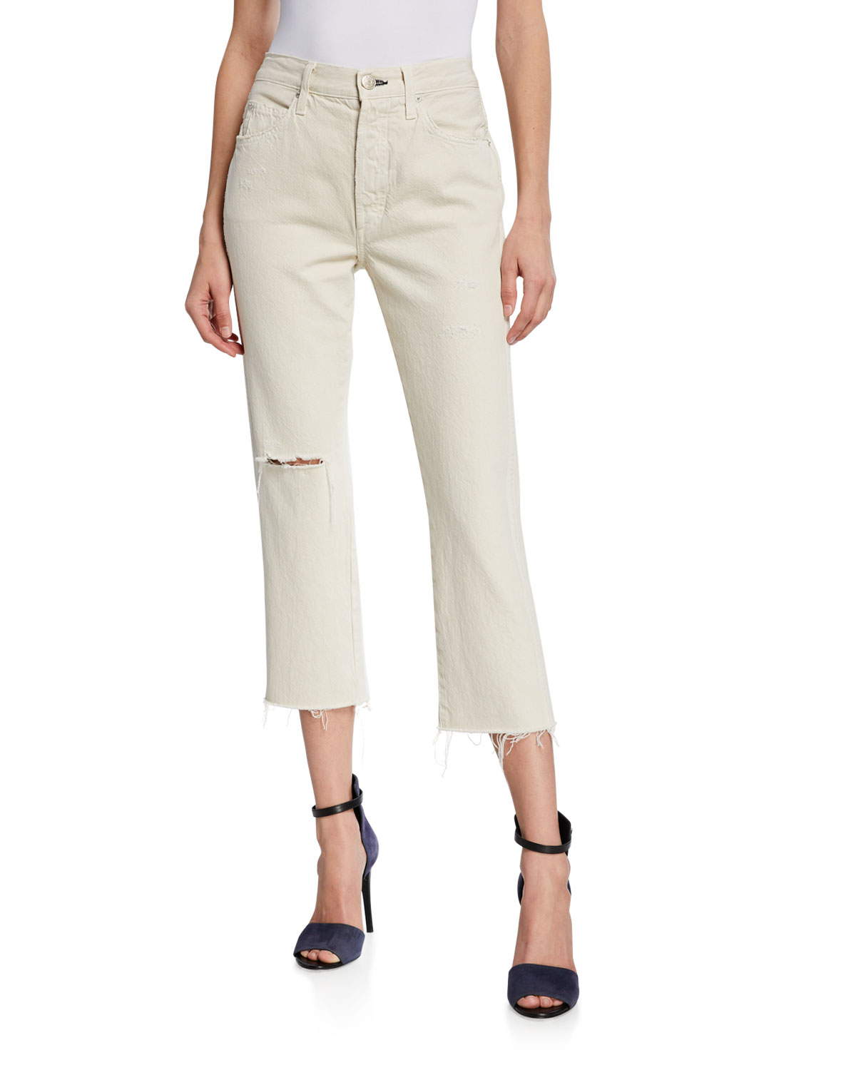 f43f48b78522 Amo Denim Loverboy High-Rise Straight Cropped Jeans In White | ModeSens